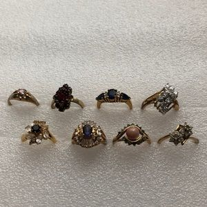 7 vintage costume rings AS IS  all have flaws